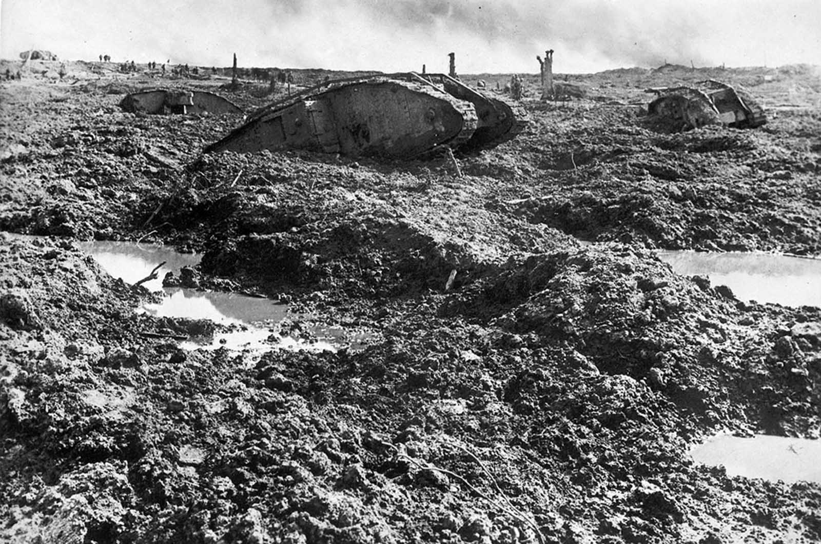 Derelict tanks lie strewn about a chaotic battlefield at Clapham Junction, Ypres, Belgium, ca. 1918.