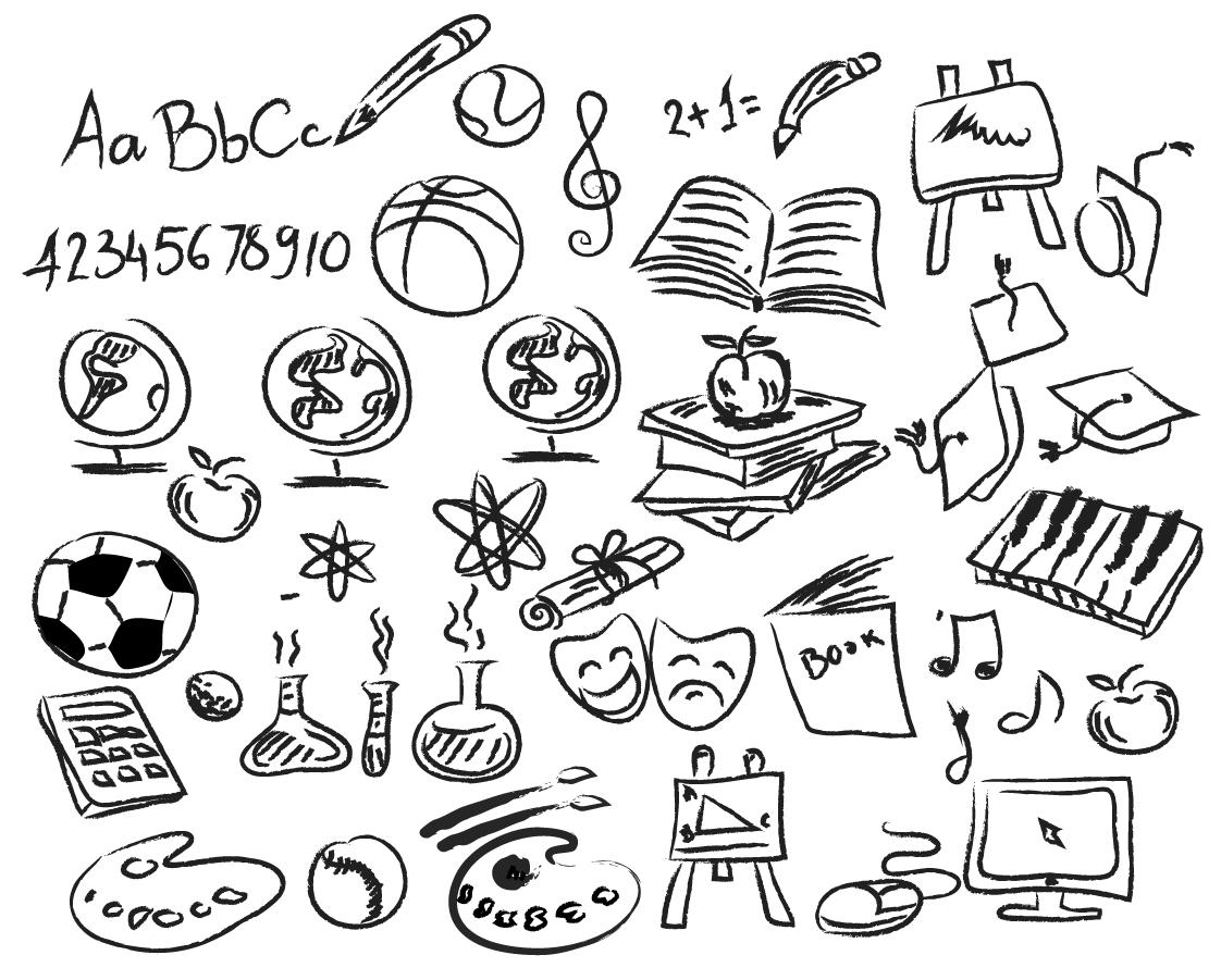 Free Vector がらくた素材庫: 学習をイメージした手書きアイコン hand drawing