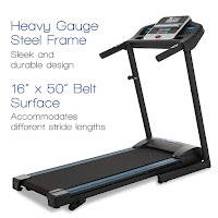 """XTERRA Fitness TR150 Folding Treadmill, with 2.5 hp motor, 0.5 - 10 mph speed range, 50"""" x 16"""" running deck with cushioning, 12 preset programs, 3 manual incline settings"""