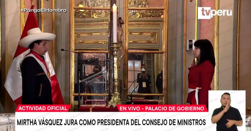 Presidente Castillo tomó juramento a Mirtha Esther Vásquez Chuquilín como titular del Gabinete Ministerial -Presidencia del Consejo de Ministros - PCM