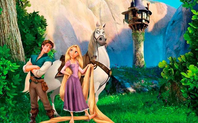 Imagen con los protagonistas Rapunzel y Flynn Ryder de la película de Disney Enredados