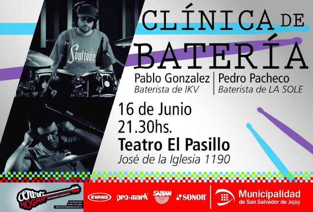 cartel clinica de bateria en jujuy el 16 de junio de 2016