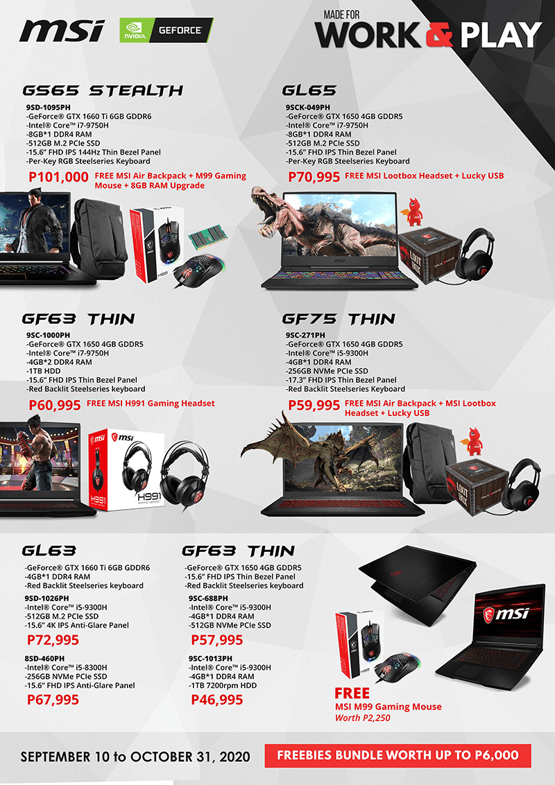 MSI Work and Play promo deals for GS65 Stealth and more