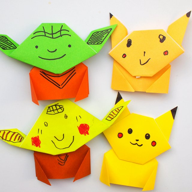 Step-by-step directions to fold Pokemon Pikachu and Yoda Origami- Easy craft for kids of all ages