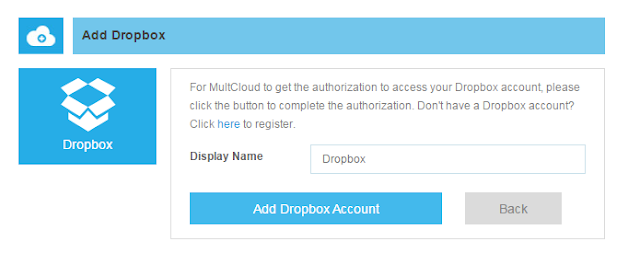 Add Dropbox to MultCloud