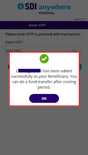 how can i add intra bank beneficiary in sbi anywhere app