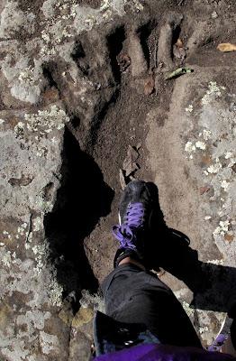 Al sur de México, en el Cerro Verde, en la Mixteca Alta de Oaxaca, se encuentra una huella de gran tamaño que el mito atribuye al pie de un gigante.