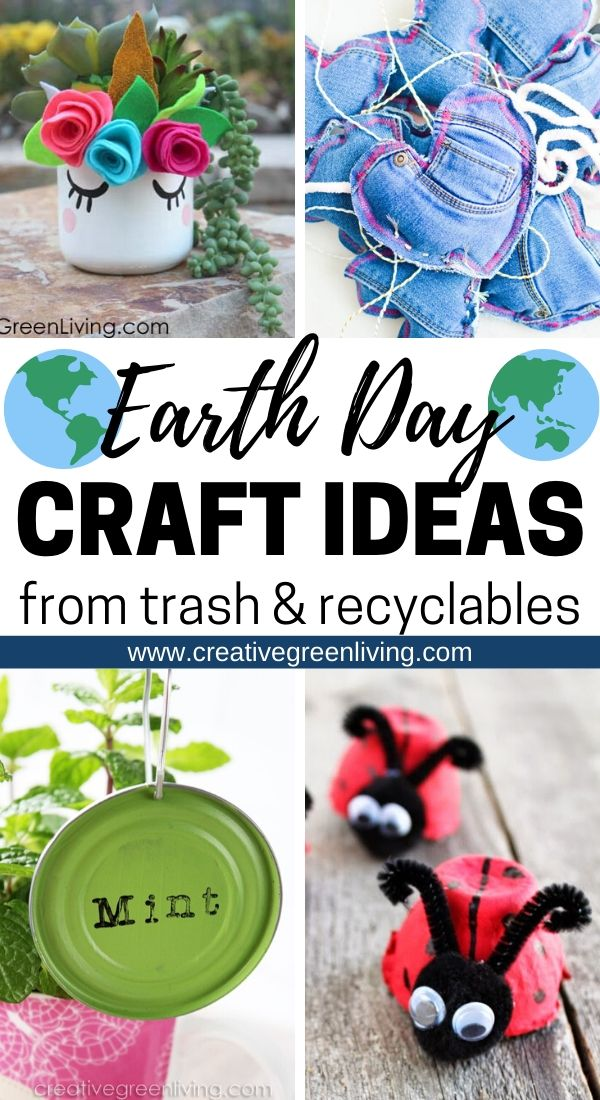 Get a mega list of the best earth day crafts for kids and adults to make from recycled materials. These clever DIY ideas teach you how to turn trash and recyclables like wine corks, tin cans, egg cartons, cardboard, old cloths, glass jars and plastic bottles and turn them into fun and impressive crafts. Each of these projects is an easy way to teach about upcycling and turning garbage into clever, useful projects instead! #earthday #recycledcrafts #upcycling #upcycledcrafts