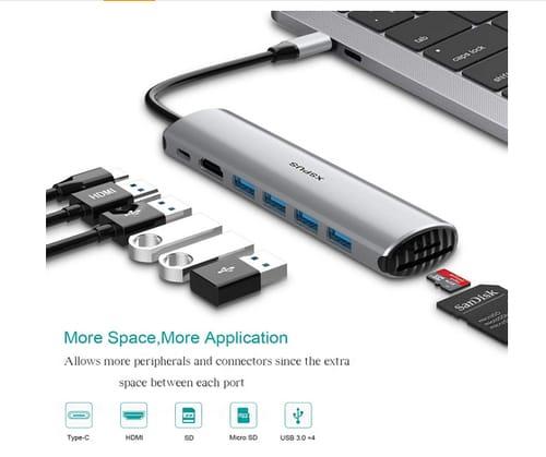 XSPUS 8 in 1 Portable Aluminum USB C Hub Dongle