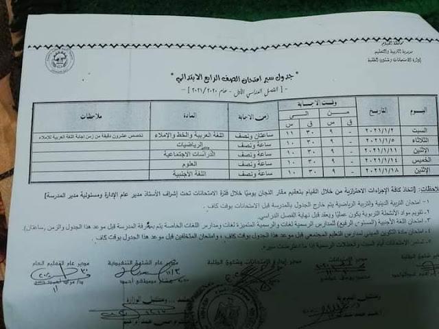 جدول امتحانات محافظة الفيوم الترم الأول 2021 للشهادة الاعدادية بالصور للصف الاول والثانى والثالث الاعدادى
