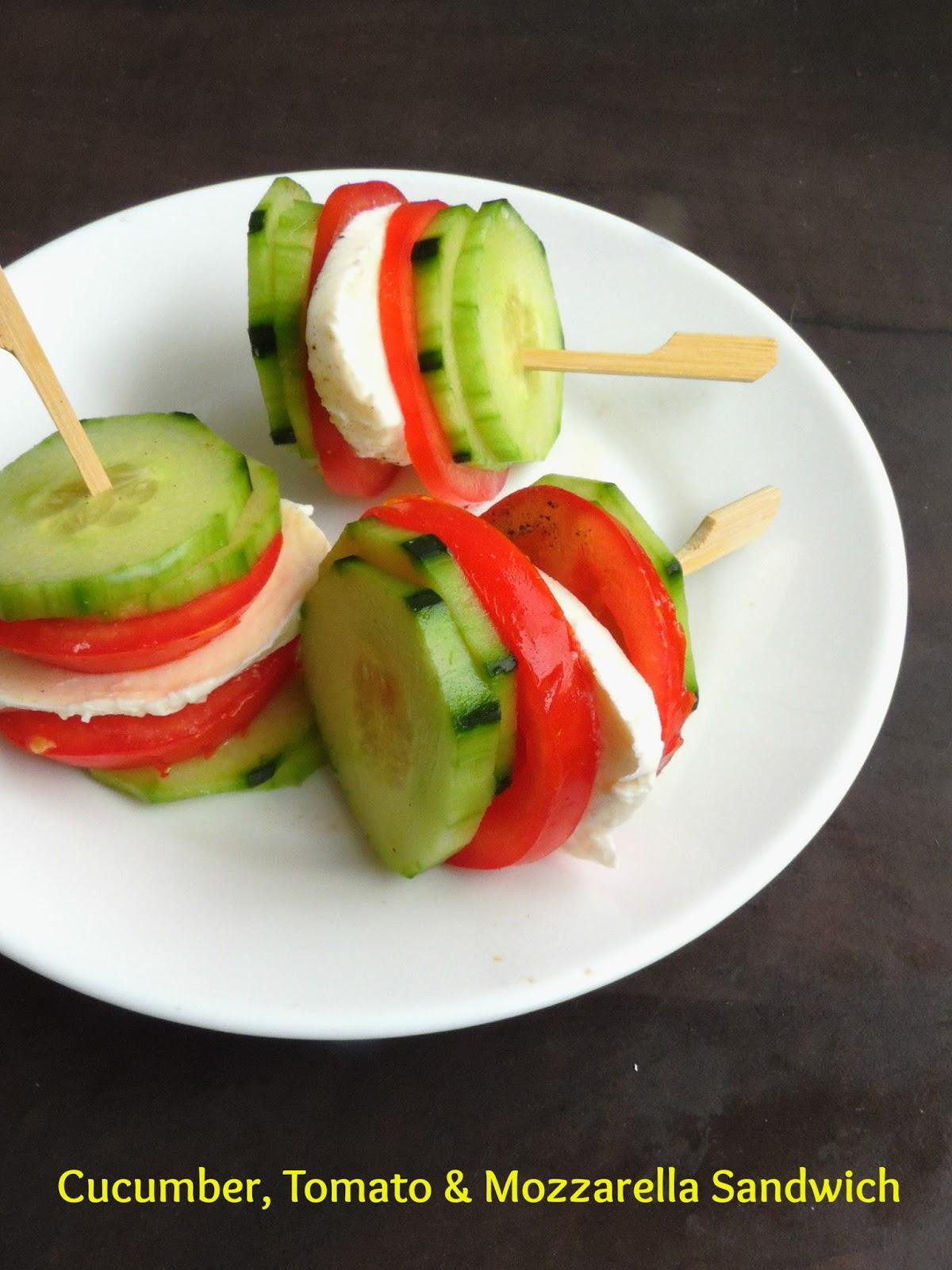 Priya's Versatile Recipes: Cucumber, Tomato & Mozzarella Sandwich