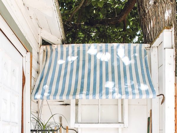 Backyard potting area with a DIY Awning