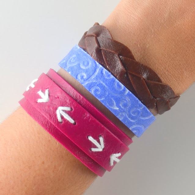 pulseras fimo leather effect