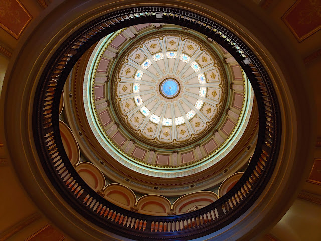 Looking up into the dome of the California State Capitol Museum building
