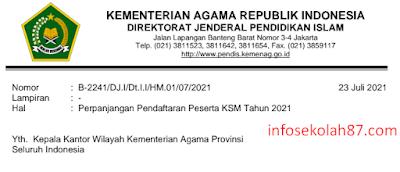 SE Perpanjangan Waktu Pendaftaran Peserta KSM Higga tanggal 30 Juli 2021