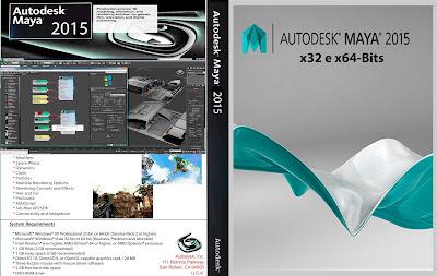 AutoDesk Maya 2015 x32 e x64-Bits DVD Capa