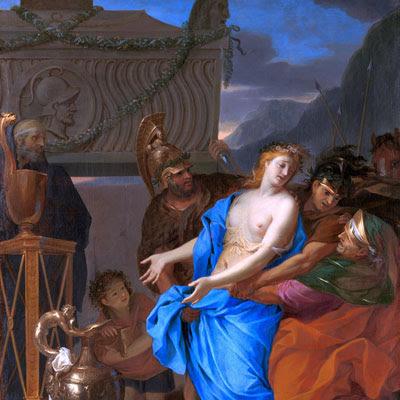 """Il dipinto """"Il sacrificio di Polissena"""" è di Charles Le Brun (1619-1690)"""