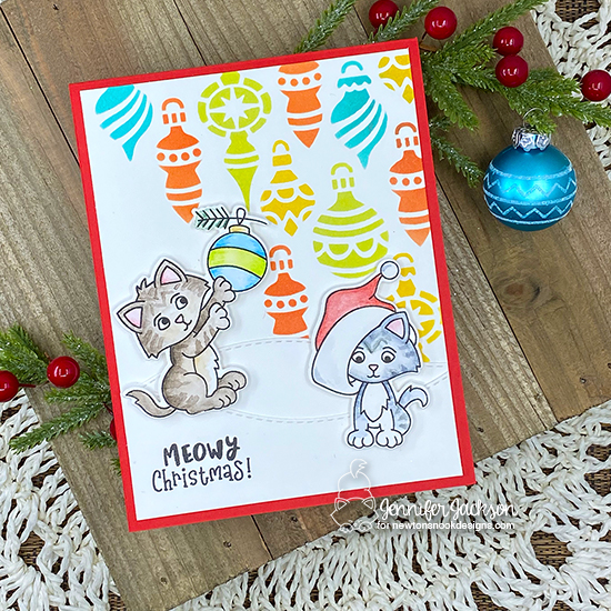 2020 Cat Lovers Blog Hop | Card by Jennifer Jackson | A Kitten Christmas Stamp Set and Ornaments Stencil by Newton's Nook Designs  #newtonsnook