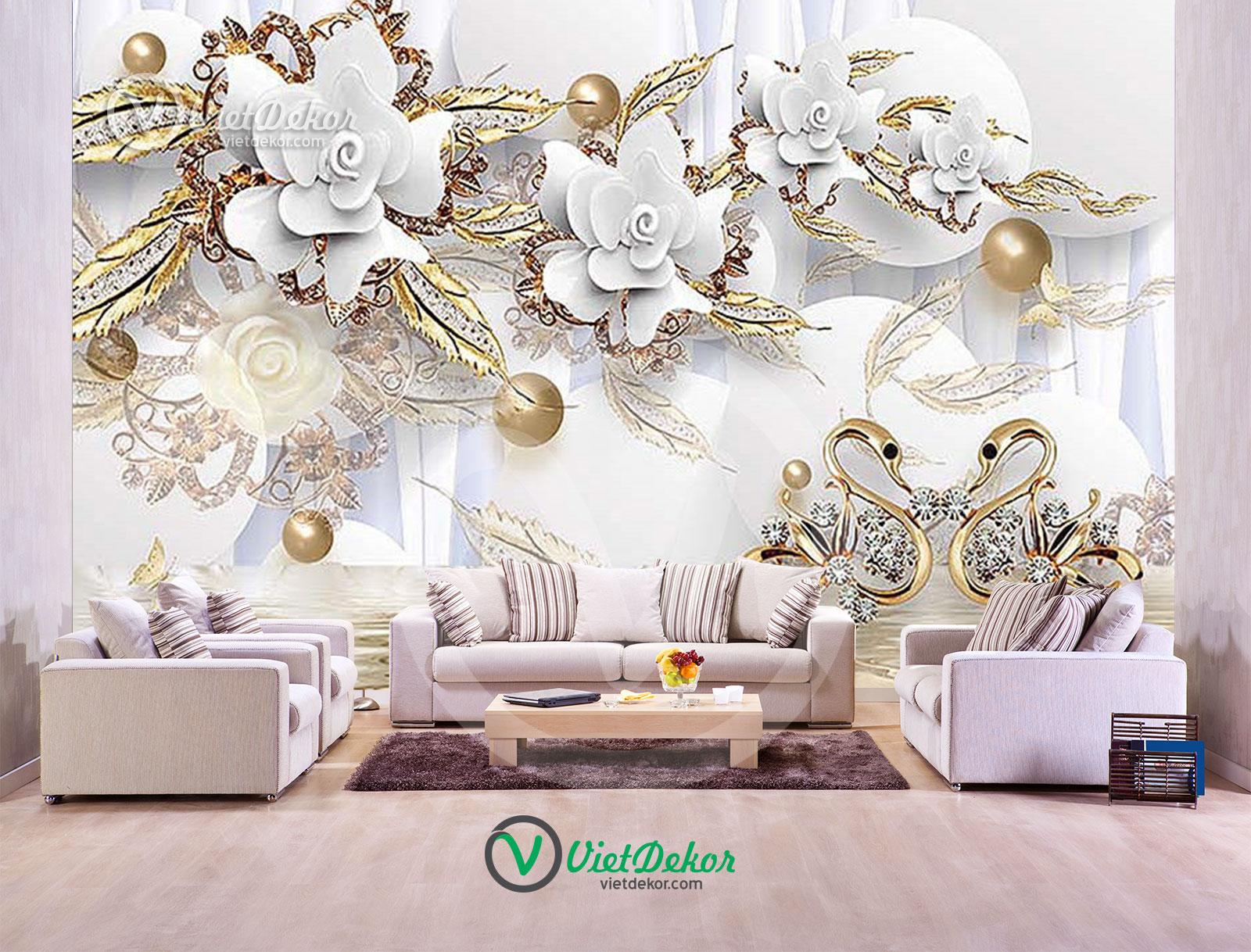 Tranh dán tường 3d hoa ngọc trai