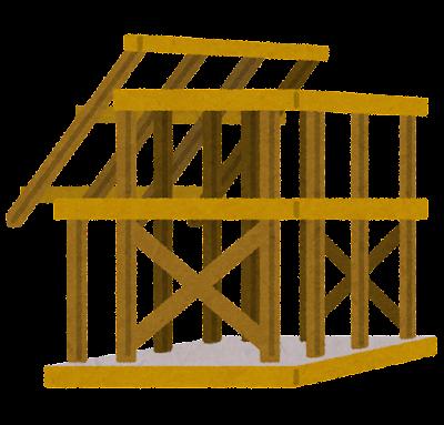 建築中の家のイラスト