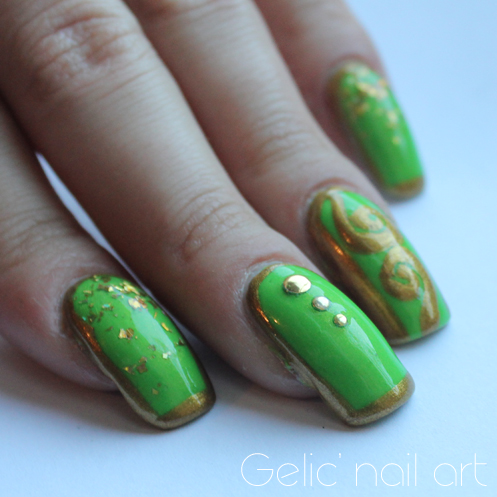 Gelic' nail art: Lime green and gold nail art