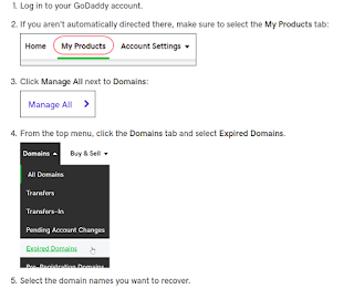 how to renew my expired domains on Godaddy?