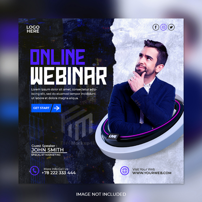 Live Streaming Workshop Marketing Agency Corporate Social Media Post Template