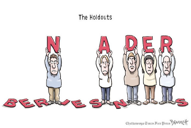 Title:  The Holdouts.  Image:  Row of Sanders supports hold ing up letters.   They dropped some of the letters that spell out B-E-R-N-I-E S-A-N-D-E-R-S, but are still holding up N-A-D-E-R.
