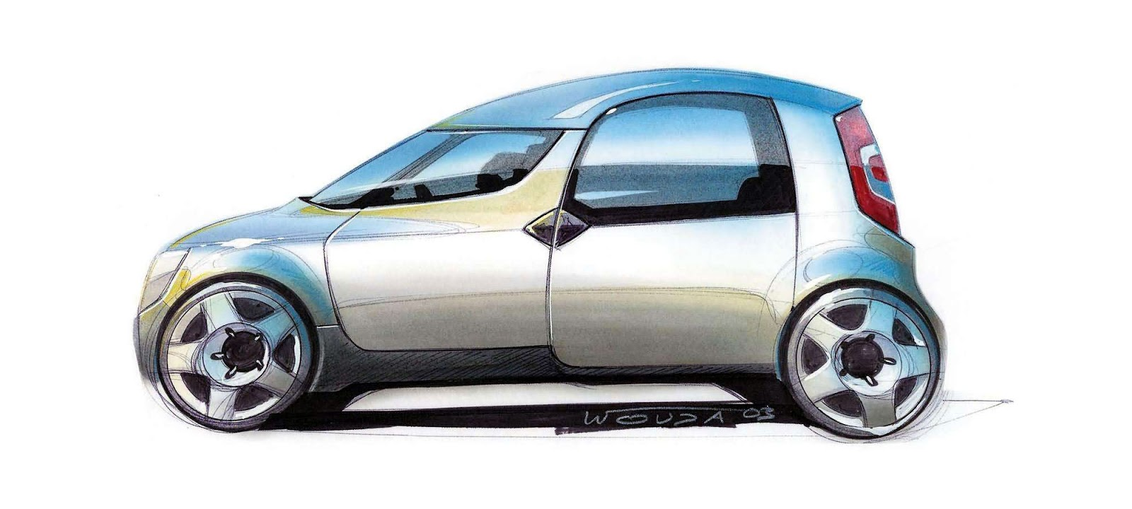Skoda Roomster sketch by Peter Wouda - early theme side view