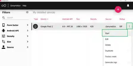 Android Studio,Genymotion Emulator,