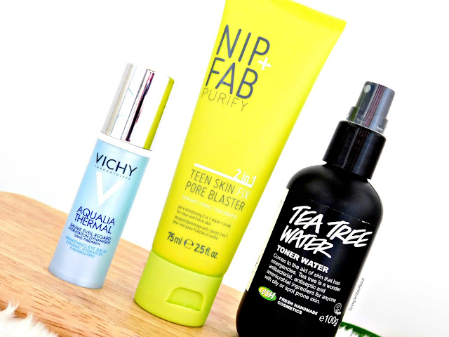 skincare products for problem skin, lush tea tree toner water, nip fab pore blaster