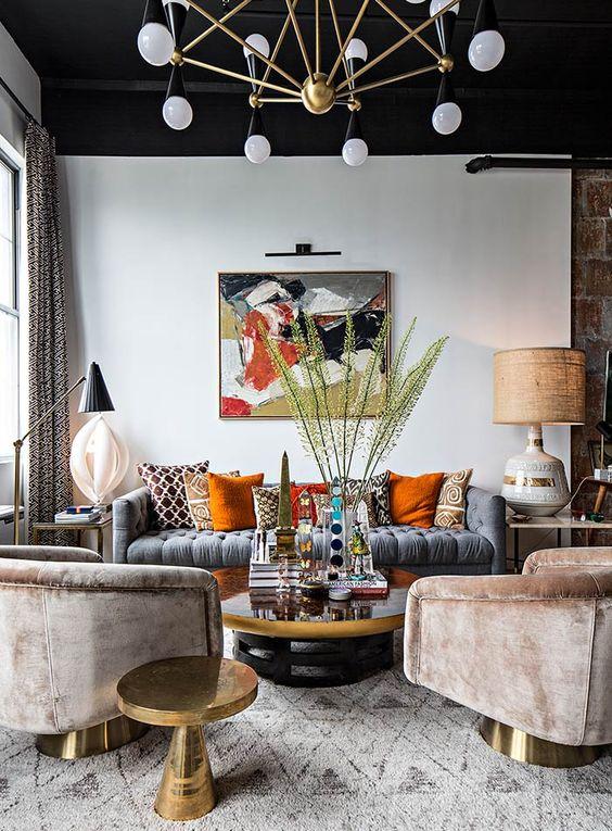 Decoração de sala de estar classica e moderna