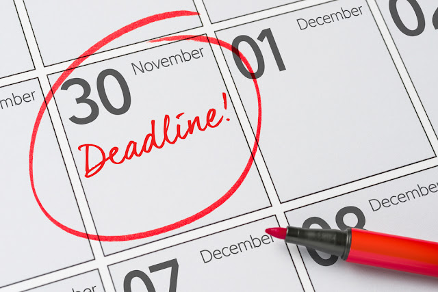 Nov 30 circled in red on calendar Deadline