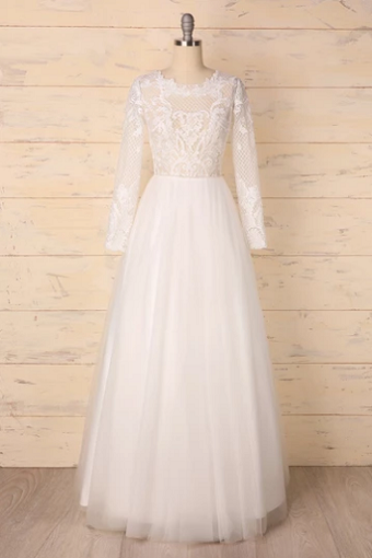long sleeves bridal dress