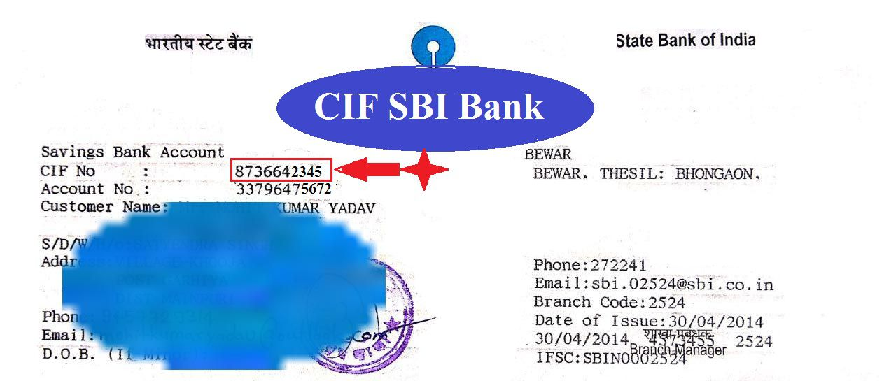 cif sbi example- CIF NUMBER