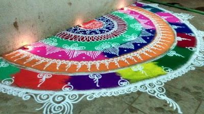 white sanskar bharati rangoli