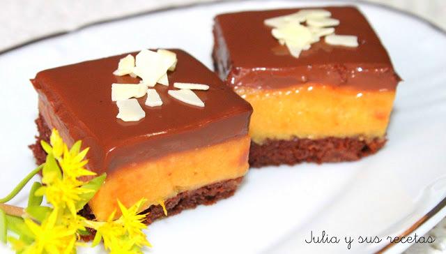 Cuadraditos de naranja y chocolate. Julia y sus recetas