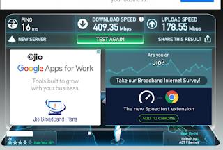 JIo speed of broadband