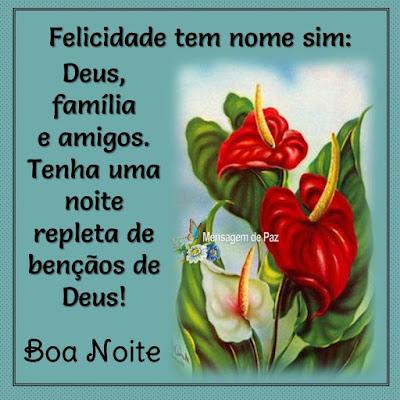 Felicidade tem nome sim:  Deus, família e amigos.  Tenha uma noite repleta   de bençãos de Deus!  Boa Noite!