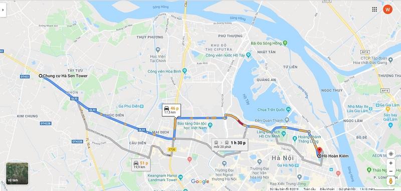 Xem địa chỉ dự án Hà Sơn Tower Trạm Trôi qua Google Map