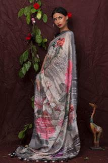 Linen Digital Print Saree