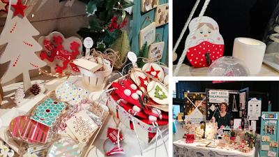 stand d'Art-déco Salamandre, objets en bois et décorations de Noël