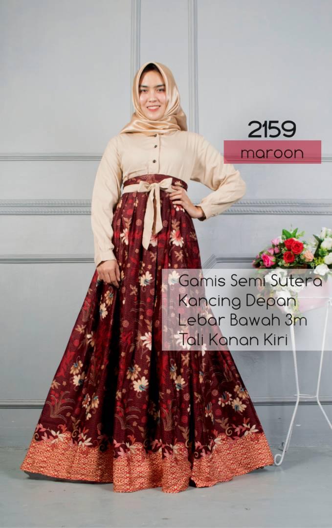 Baju Batik Wanita Model Gamis Rok Lebar Semi Sutera Terbaru T2159