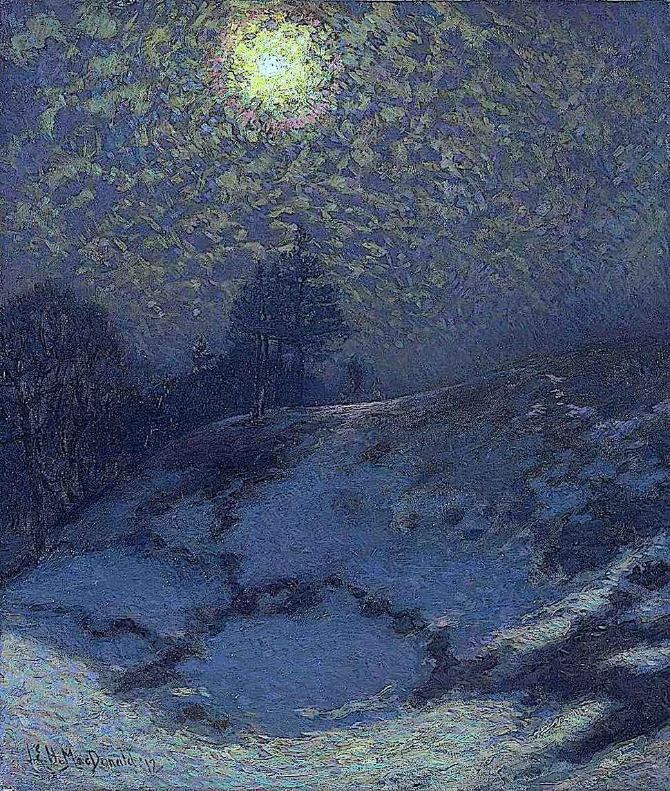 a J. E. H. MacDonald painting of the moon in a blue night sky