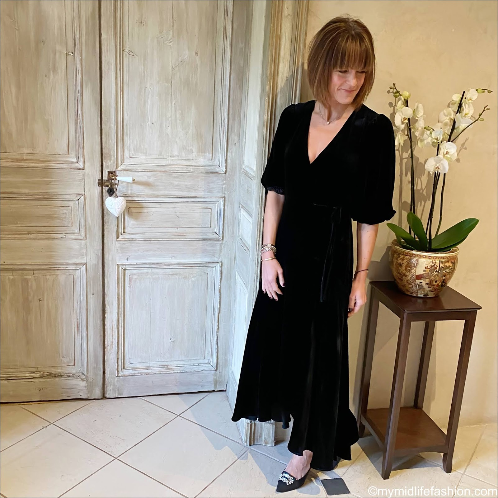 my midlife fashion, ganni velvet wrap dress, Kurt geiger shoes