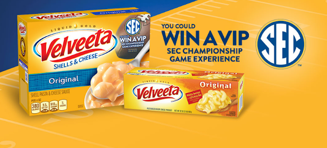 Velveeta is giving away a VIP SEC Championship Game Experience trip for four to Atlanta and instant win prizes!