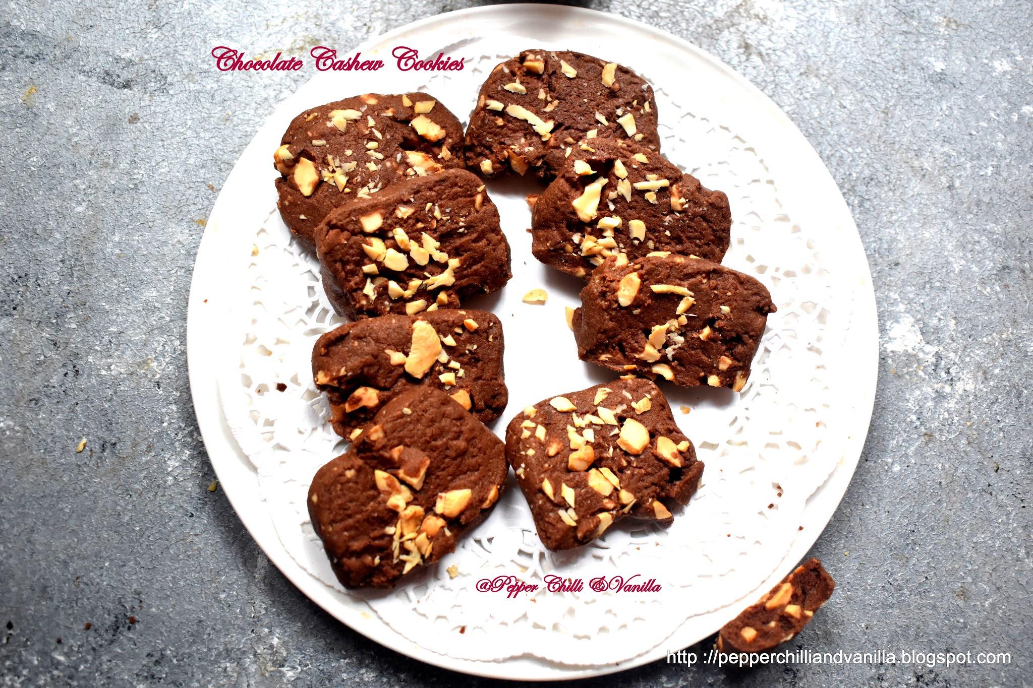 Eggless Chocolate Cashew Cookies