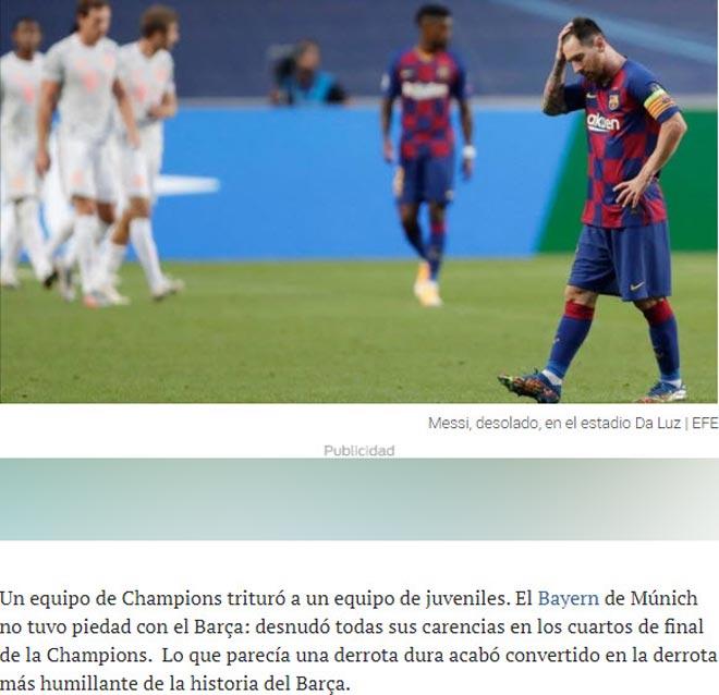 """Barcelona thảm bại 2-8: Báo Tây Ban Nha chê cười """"nỗi nhục chưa từng có"""" 2"""