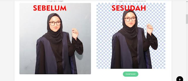 Backgound foto Nissa Sabyan dihapus dengan remove.bg