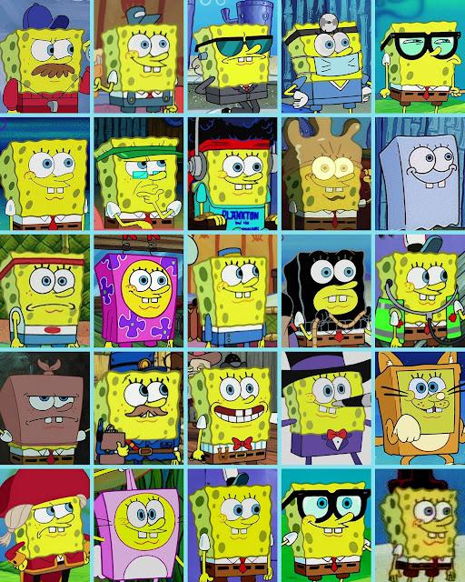 Many faces of Spongebob Squarepants
